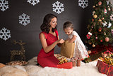 Happy family with gifts.Christmas decoration