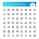 Hockey Line Icons Set