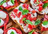 Cheese delicious breakfast toasts tomatoes