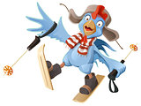 Blue Rooster symbol 2017. Cartoon Cock chicken skiing