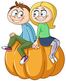 Couple on pumpkin