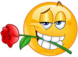 Emoticon with rose between teeth