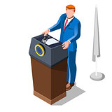 Election Infographic Lecture Theatre Vector Isometric People
