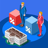 Election Infographic Presidential Score Vector Isometric People
