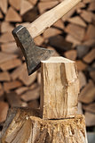 Chopping firewood detail