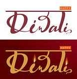 Happy Diwali Indian festival of lights. Set lettering text