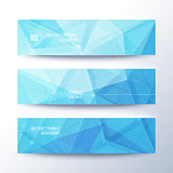 Set of horisontal abstract low poly geometric banners with triangles in blue