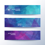 Set of horisontal abstract low poly geometric banners with triangles in blue and purple