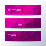 Set of horisontal abstract low poly geometric banners with triangles in magenta pink