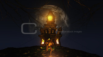 3D Halloween background with creature running from spooky castle