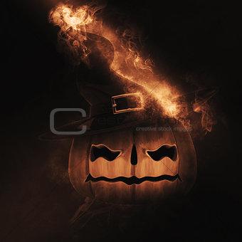 3D Spooky pumpkin on fire