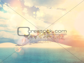 3D palm tree island with vintage effect