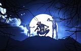3D Halloween demons in a spooky landscape