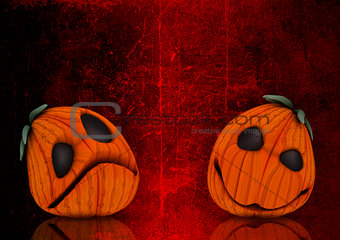 3D grunge Halloween pumpkin background