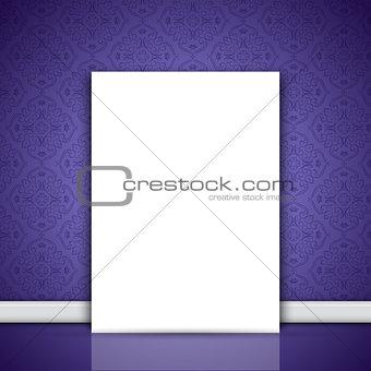 Blank canvas leaning on purple wallpaper
