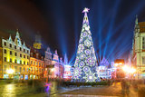 Light laser show on Market Square, Wroclaw, Poland