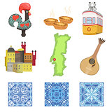 Portuguese National Symbols Set Of Objects