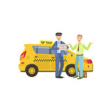 Taxi Driver Meeting A Client In Airport Standing Next To Yellow  Car