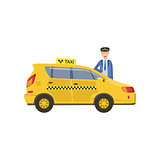 Driver In Uniform And Yellow Taxi Car