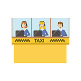 Yellow Glass Cabin For Taxi Service Call Center With Three Operators Working