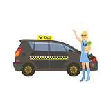 Woman With Groceries Catching Black Taxi Car