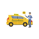 Driver Showing A Smartphone Taxi Service Application Standing Next To His Yellow Car