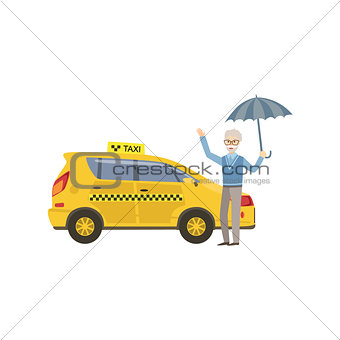 Old Man With Umbrella Signaling To Yellow Taxi Car