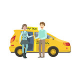Young Couple Entering Yellow Taxi Car