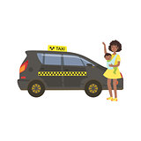 Woman With Baby Calling Black Taxi Car