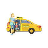 Mother With Daughter Entering Yellow Taxi Car