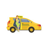 Woman Entering A Yellow Taxi Car