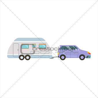 Car Pulling The Trailer Family Motorhome Flat Colorful
