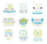 International Peace Day Set Of Label Designs In Pastel Colors