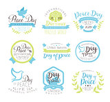 World Peace Day Set Of Label Designs In Pastel Colors
