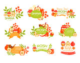 Jewish New Year Bright Postcard Labels Set