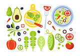 Salad Preparation Set Of Ingredients Illustration