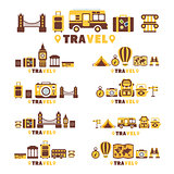 Travel Symbols Set By Five In Line Collection Of Clipart Vector