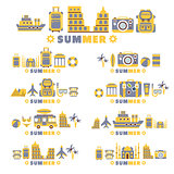 Summer Vacation Symbols Set By Five In Line Collection Of Clipart Vector