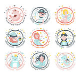 Fairy Tale Characters Girly Stickers In Round Frames