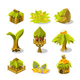Video Game Tropical Jungle Design Collection Of Icon