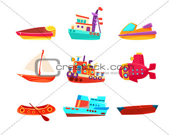 Water Transport Toy Boats Icon Collection