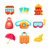 Travelling Related Objects Colorful Simple Icons