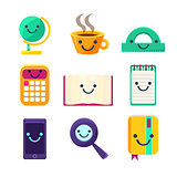 Office Desk Supplies Collection Of Objects With Smily Faces