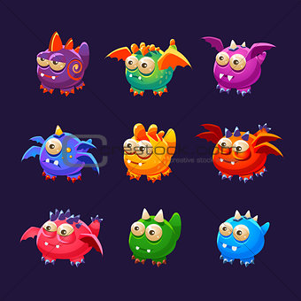 Little Alien Monsters With And Without Wings Collection