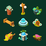 Video Game Garden Decoration Collection Of Elements