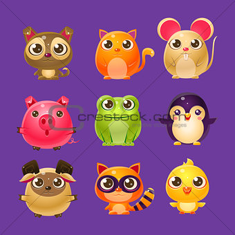 Adorable Baby Animals In Girly Design