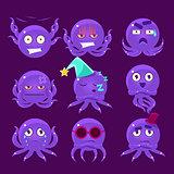 Funny Octopus Character Emoji Set