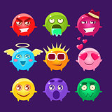 Collection Of Round Character Emoji Icons