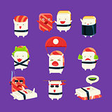 Funny Sushi Man Different Activities Set