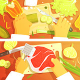 Cooking Of Salad And Steak Two Bright Color Illustrations.